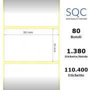 Etichette SQC - Carta normale (vellum) (bobina), formato 50 x 30