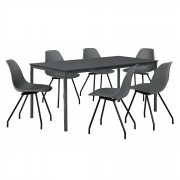[en.casa]® Dizajn blagovaonski set - stol (tamno sivi,160x80cm) - sa 6 stolica (tamno sive)