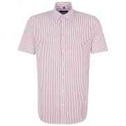 Seidensticker Overhemd Tailored Striped Business Short Sleeve Rode Wijn / male