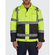 Old Toledo Brands Utility Pro UHV562 Nylon/Polyester High-Vis Quilted Bomber Jacket with Cell Phone Pocket with Dupont Teflon fabric protector, Yellow, X-Large