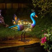 Napelemes spirál páva világítás 28,5 cm