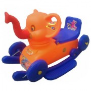 Oh Baby Multi color Rocking Plastic Elephant With Wheel SE-RT-07