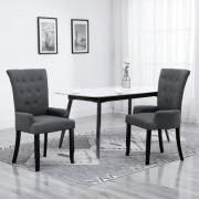 vidaXL Dining Chair with Armrests Dark Grey Fabric