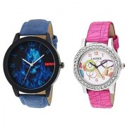 Laurex Analog Leather Watches for Lovely Couple Combo-LX-075-LX-129
