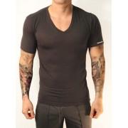Whittall & Shon Viscose V Neck Short Sleeved T Shirt Black 307