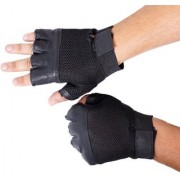 LEATHER GYM GLOVE SPORTS GLOVE BIKE GLOVE - BLACK (FREE SIZE & HIGH QUALITY)