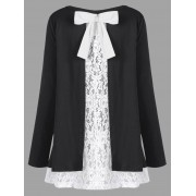 rosegal Plus Size Bowknot Embellished Lace Trim Top