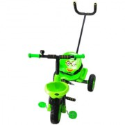Tricycle for Kids with Parental control Footrest Safety Belt Bell Front Back Basket for 2 years to 4 years - Green