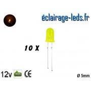Lot de 10 LEDs jaunes diffusante 500 mcd 590 nm 30° ref ld-04