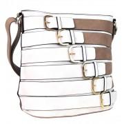 Moderní crossbody kabelka se zlatými přezkami 2124-BB přírodní hnědá