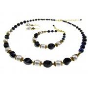 Set pietre naturale lapis lazuli si perle de cultura