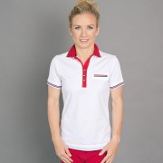 Női póló póló 6503 -ban fehér szín piros gallér