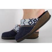 Papuci de casa bleumarin din lana dama/dame/femei (cod CAROL)