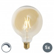 LUEDD Set of 5 E27 dimmable LED filament lamps G125 goldline 2200K