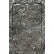 Cadita de dus slim AquaNit Slope Fiori di Pesca, 80x120 cm, tip marmura, Gri + sifon din inox