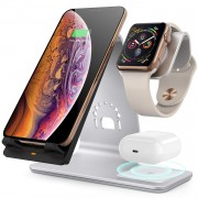BESTAND 3-in-1 Wireless Charger Stand Qi 10W Fast Charging Station, Apple iWatch + AirPods + Phone Station Dock - Silver
