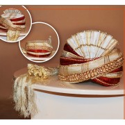 Designer White Art Silk Groom Turban - 72506