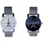 Wenlong Stylist Crystle Black And White Best Designing Stylist Analog Watch For Women Pack Of 2 Watch