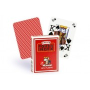 Modiano Italian Poker Game Playing Cards - RED Poker Index - Single Card Deck - 100% Plastic Made in