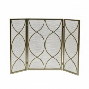 Noble House Pleasants Modern Gold Three Panel Iron Fire Screen