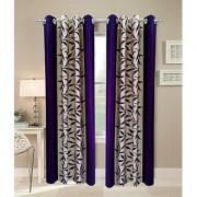 iLiv Purple Kolveri Flower Long Door Curtain 9Ft - 1Pc
