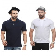 Kundan's Exclusive for Men's 100% Pure-Cotton Polo Neck Half Sleeves T-Shirt With Pocket-Navy Blue & White ( Pack of 2 T Shirt )