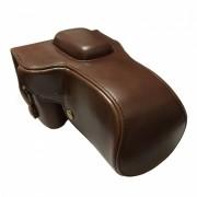 Ismartdigi cuero PU bolsa de la caja de la camara para Canon 100D - Cafe