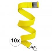 Geen 10x Keycord/lanyard geel met sleutelhanger 50 cm