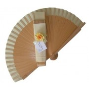 NEW! Decorated Varnished Wedding Fan - Yellow Flowers