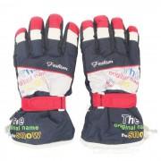 Deportes al aire libre esqui caliente taslan + algodon guantes de dedo completo - rojo