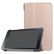 Notesz / mappa tok - ROSE GOLD - oldalra nyíló flip cover, TRIFOLD asztali tartó funkciós, mágneses záródás - SAMSUNG SM-T380 Galaxy Tab A 8.0 (2017) / SAMSUNG SM-T385 Galaxy Tab A 8.0 (2017) (4G/LTE)