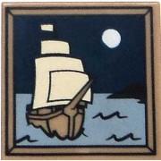 LEGO LEGO Items 2 x 2 Dark Tan Tile of Ship Sailing Under the Moon [Loose]