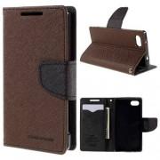 MERCURY notesz tok / flip tok - BARNA / FEKETE - asztali tartó funkciós, oldalra nyíló, rejtett mágneses záródás, bankkártya tartó zsebekkel, szilikon belső - SONY Xperia Z5 Compact