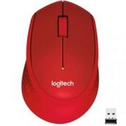 Мишка Logitech M330 Silent Plus, оптична (1000 dpi), безжична, червена