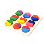 A075 figura geometrica juguete de madera de la educacion para los cabritos - rojo + verde + amarillo + purpura + azul