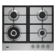 Plita incorporabila Beko HIAW 64225 SX, Gaz, 60 cm, 4 arzatoare, Wok, Gratare din fonta, Aprindere electronica, Inox