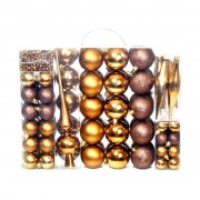 vidaXL Комплект коледни топки от 113 части, 6 см, кафяво/бронз/злато