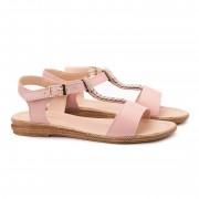 Sandale dama din piele roz fara toc 2106