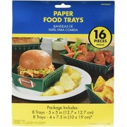 Amscan Football Frenzy Birthday Food Trays Serve Ware Paper Pack 16 Childrens Party Tableware (144 Piece)