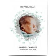 Optimalprint Photo Christening Invitations, glansigt papper, standard-kuvert, 1 st, fotokort (1 foto), pojke, klassiskt, A6, enkelt, Optimalprint