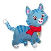 "Fólia lufi, nagyforma, cica, kék, 24"""