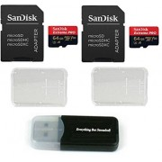 SanDisk Extreme Pro Tarjeta de memoria micro 4 K de 64 GB (SDSQXCG-064G-GN6MA) clase 10 U3 V30 A1 64G MicroSD XC con 2 fundas de plástico y 1 lector de tarjetas Everything But Stromboli (TM)
