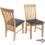 vidaXL Blagovaonske stolice od masivne hrastovine i umjetne kože 4 kom