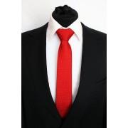 Pánská červená slim kravata s bílými puntíky - 6 cm