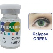 Celebration Conventional Colors Yearly Disposable 2 Lens Per Box With Affable Lens Case And Lens Spoon(Calypso Green-6.00)