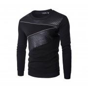 Hombre Camisa con cuello redondo material PU estilo casual mangas largas color Negro