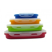 Sailing Elegant Collapsible Silicone Lunch Box/Container, Super Convenient Stackable Food Storage Containers Set of 4, Material Safe