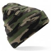 Beechfield Gebreide camouflage wintermuts groen met voering voor dames/heren