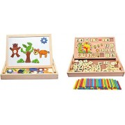 Magnetic Board Games Animal Puzzle Wooden Drawing Board + 2 in 1 Multi Functional Digital Computing Learning Blocks Box Set for Kid's Pack of 2 Board Game (Combo)