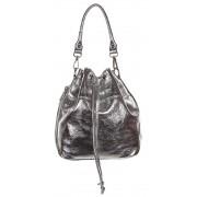 Kis méretű ezüst színű bugyor jellegű bőr női táska